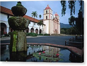 Santa Barbara Mission With Fountain 2 Canvas Print by Kathy Yates