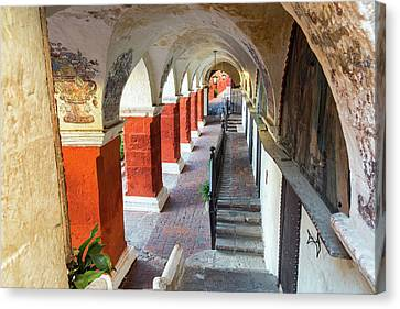 Catherine White Canvas Print - Santa Catalina Monastery Corridor by Jess Kraft