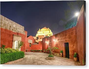 Santa Catalina Monastery Courtyard At Night Canvas Print
