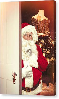 Father Christmas Canvas Print - Santa Claus At Open Christmas Door by Amanda Elwell
