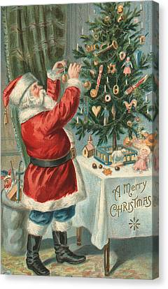 Santa Claus Decorating A Christmas Tree Canvas Print by American School