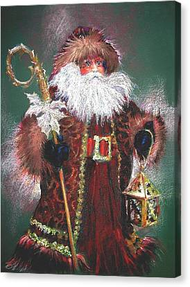 Santa Claus -dressed All In Fur From His Head To His Foot. Canvas Print by Shelley Schoenherr