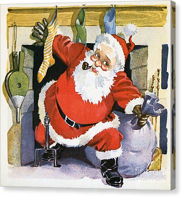 Christmas Eve Canvas Print - Santa Claus Emerging From The Fireplace On Christmas Eve by American School