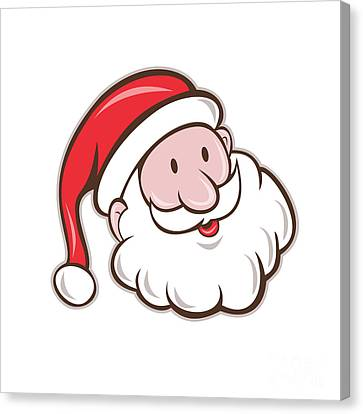 Father Christmas Canvas Print - Santa Claus Father Christmas Head Smiling Cartoon by Aloysius Patrimonio