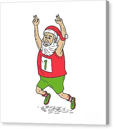 Santa Claus Father Christmas Running Marathon Cartoon Canvas Print