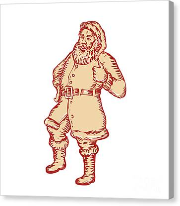 Father Christmas Canvas Print - Santa Claus Father Christmas Thumbs Up Etching by Aloysius Patrimonio
