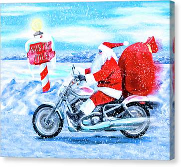 Friend Holiday Card Canvas Print - Santa Claus Has A New Ride by Mark Tisdale