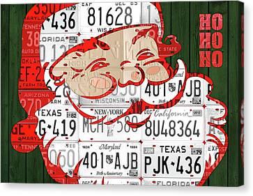 Santa Claus Ho Ho Ho Recycled Vintage Colorful License Plate Art Canvas Print