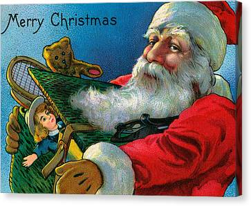 Santa Claus Holding Toys Canvas Print by American School