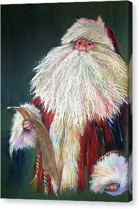 Santa Claus  Making A List And Checking It Twice Canvas Print by Shelley Schoenherr