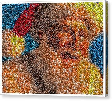 Canvas Print featuring the mixed media Santa Claus Mm Candy Mosaic by Paul Van Scott