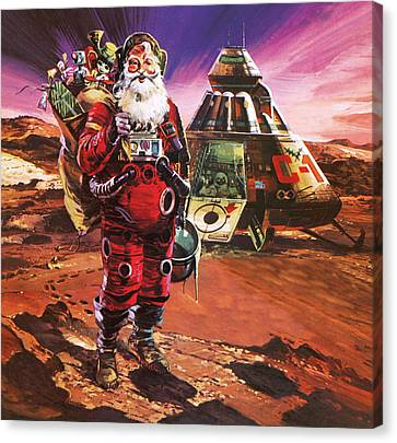 Santa Claus On Mars Canvas Print by English School
