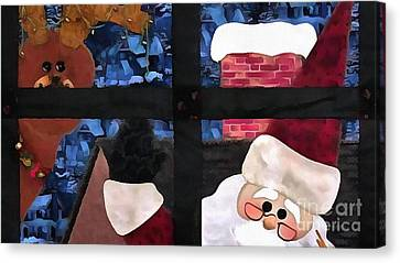 Santa Claus Quilt Painting Canvas Print by Catherine Lott