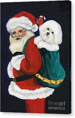 Santa Claus With Bichon Frise Canvas Print