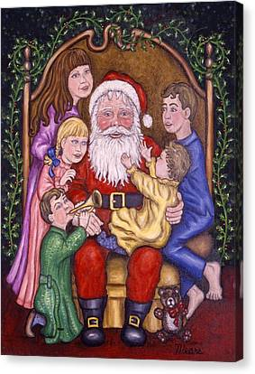 Santa Claus With Children Canvas Print by Linda Mears