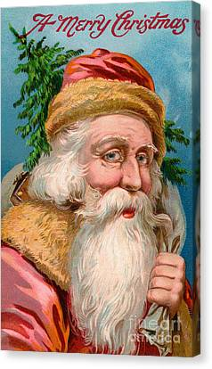 Father Christmas Canvas Print - Santa Claus With Christmas Tree by American School