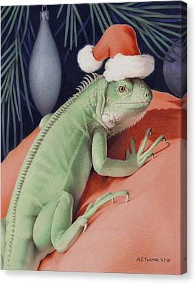 Santa Claws - Bob The Lizard Canvas Print by Amy S Turner