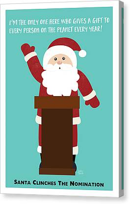 Santa Clinches The Nomination- Art By Linda Woods Canvas Print