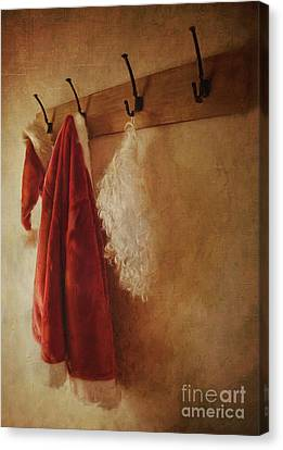 Santa Costume Hanging On Coat Hook/digital Painting  Canvas Print by Sandra Cunningham