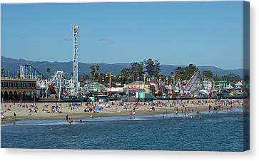 Santa Cruz Boardwalk And Beach - California Canvas Print by Brendan Reals