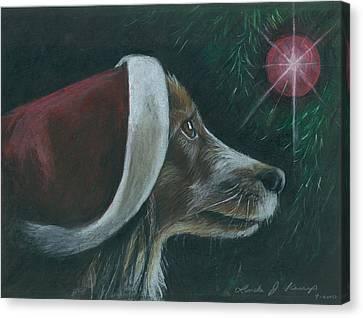 Santa Dog Canvas Print by Linda Nielsen
