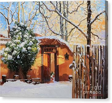 Santa Fe Adobe In Winter Snow Canvas Print by Gary Kim