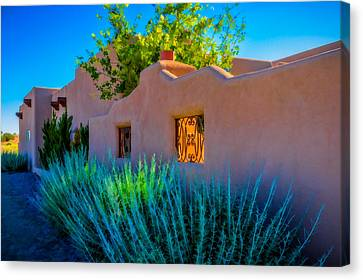 Canvas Print featuring the photograph Santa Fe Adobe by Ken Stanback