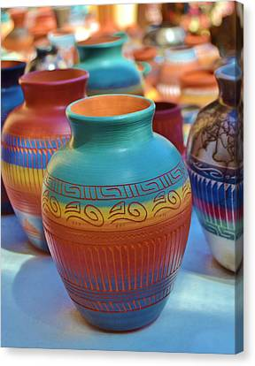 Santa Fe Hand Painted And Sculpted Clay Pottery Canvas Print by Cherie Cokeley