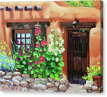Santa Fe Hollyhocks Canvas Print