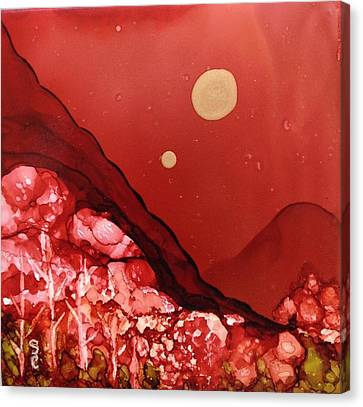 Canvas Print featuring the painting Santa Fe Moonrise by Suzanne Canner