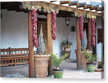 Canvas Print featuring the photograph Santa Fe Red Chili Ristra Porch by Andrea Hazel Ihlefeld