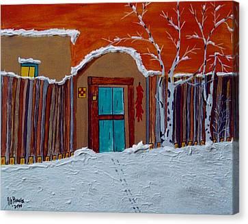 Santa Fe Snowstorm Canvas Print by Joseph Frank Baraba