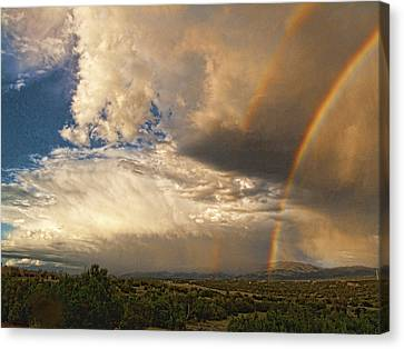 Canvas Print featuring the photograph Santa Fe Summer Sky With Double Rainbow by Paul Cutright