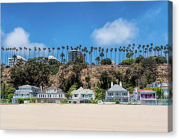 Canvas Print featuring the photograph Santa Monica Beach Front by Michael Hope
