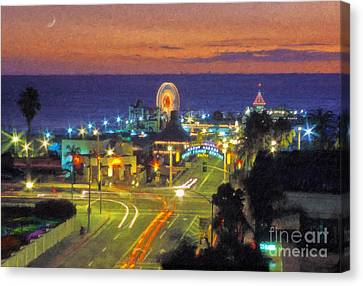Canvas Print featuring the photograph Santa Monica Ca  Pacific Park Pier by David Zanzinger