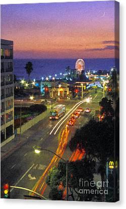 Canvas Print featuring the photograph Santa Monica Ca Pacific Park Pier  Sunset by David Zanzinger