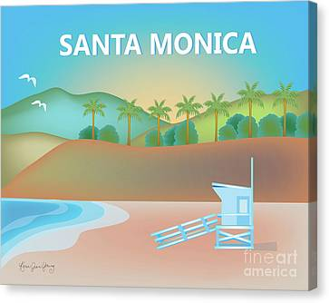 Santa Monica California Horizontal Scene Canvas Print by Karen Young