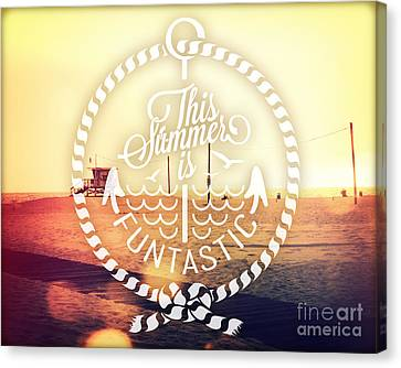 Beach Chair Canvas Print - Santa Monica by Chris Andruskiewicz
