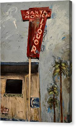 Canvas Print featuring the painting Santa Monica Liquor by Lindsay Frost