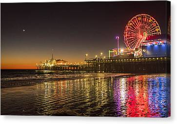 Canvas Print featuring the photograph Santa Monica Pier After Sunset by Michael Hope