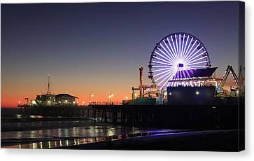 Santa Monica Pier At Sunset Canvas Print by Frank Freni