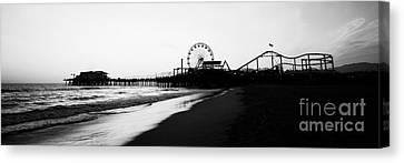Santa Monica Pier Black And White Panoramic Photo Canvas Print by Paul Velgos