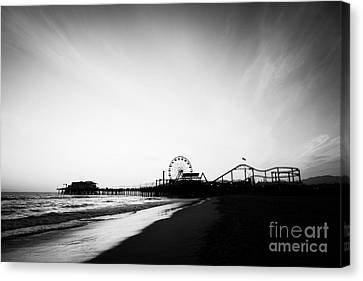 Santa Monica Pier Black And White Photo Canvas Print by Paul Velgos