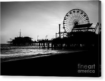 Santa Monica Pier Black And White Picture Canvas Print by Paul Velgos