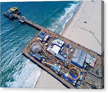 Roller Coaster Canvas Print - Santa Monica Pier From Above Side by Andrew Mason
