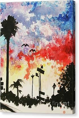 Santa Monica Pier - Right Side One Of Three Canvas Print