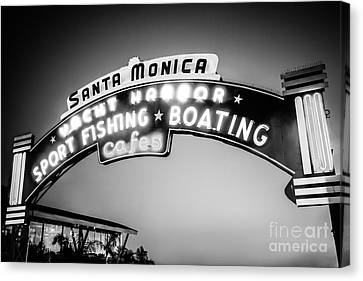Santa Monica Pier Sign Black And White Photo Canvas Print