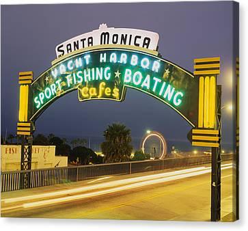 Santa Monica Pier Sign Santa Monica Ca Canvas Print by Panoramic Images