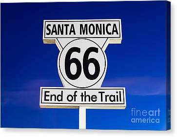 Santa Monica Route 66 Sign Canvas Print by Paul Velgos