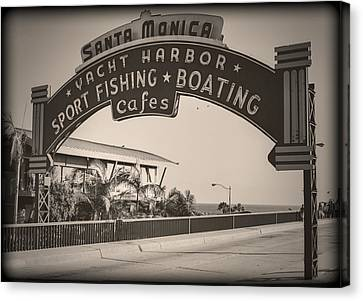 Santa Monica Sign Series Modern Vintage Canvas Print by Ricky Barnard